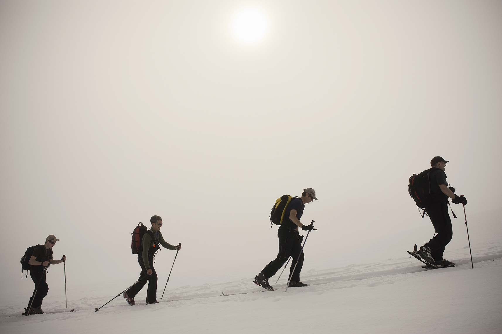 ski touring in fog Golden BC