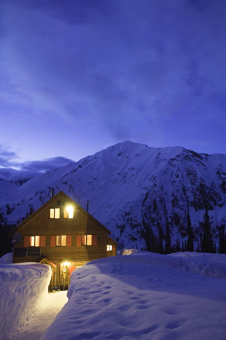ski lodge at night Selkirk Mountains