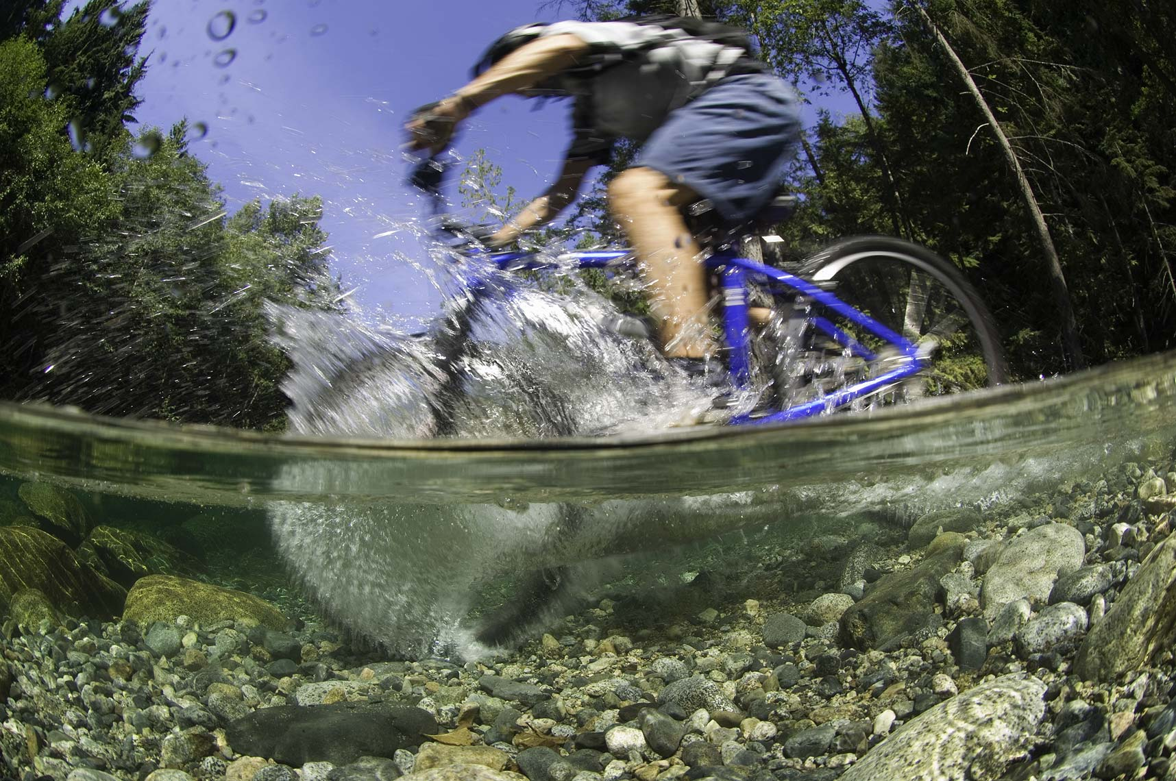 mountain biker under water
